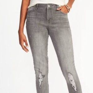 Gray distressed jeans